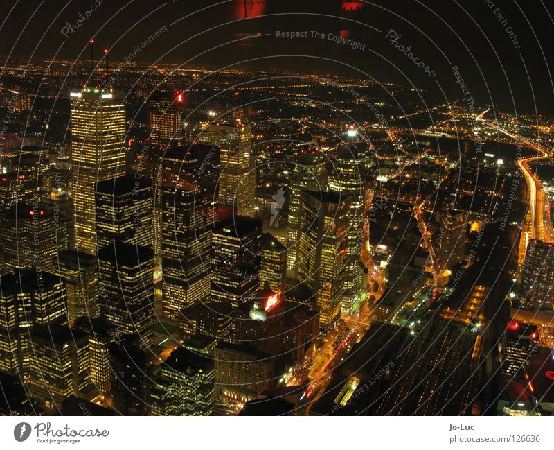 City Far-off places Lighting Large High-rise Tall Vantage point Skyline Canada Downtown Glow Toronto CN Tower