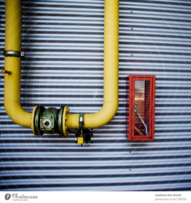 Red Yellow Line Closed Facade Open Blaze Fire Corner Industry Round End Mask Box Pipe Parallel