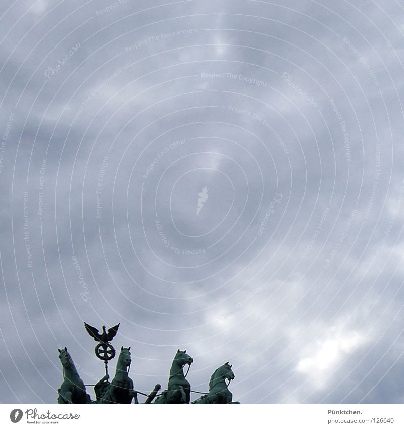 Sky Clouds Dark Berlin Gray Above Tall Horse Landmark Monument Capital city 4 Statue Gate Square Entrance
