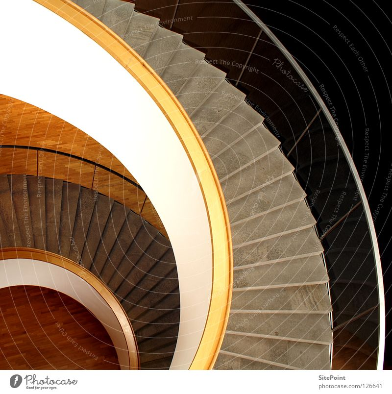 White Gray Brown Architecture Stairs Round Interior design Snail Banister Beige Descent