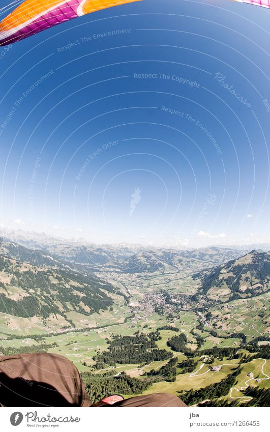 Fisheye over Gstaad Lifestyle Well-being Contentment Relaxation Calm Leisure and hobbies Trip Far-off places Freedom Summer Mountain Sports Paraglider