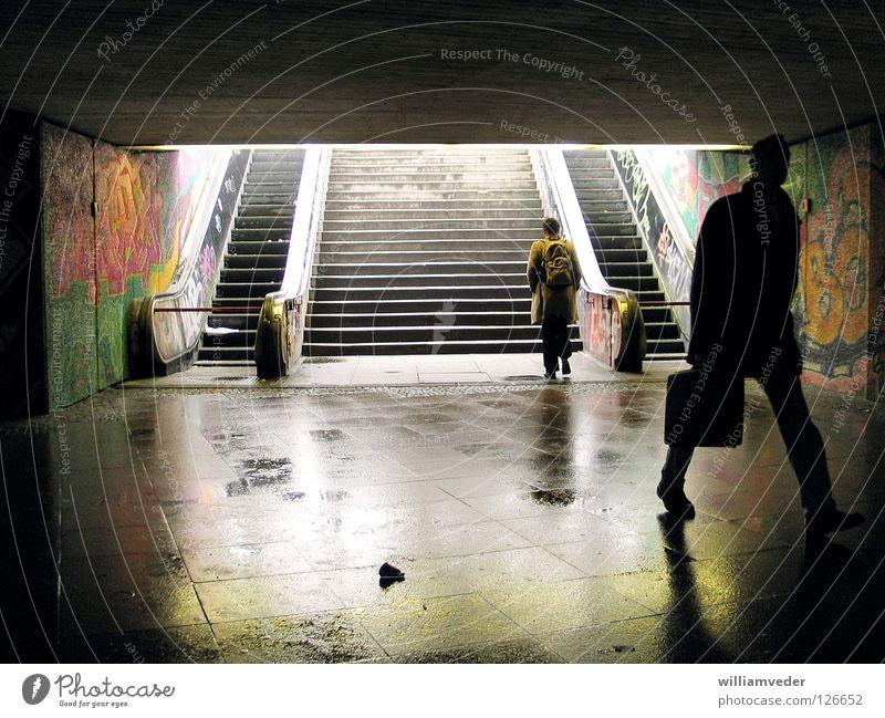 Man Dark Work and employment Going Wet Tunnel Come Escalator Underpass