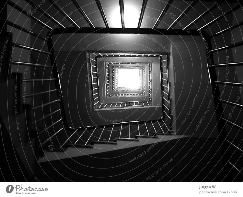 ray of hope Staircase (Hallway) Light Architecture Handrail Tall Shadow Black & white photo Above stairway stairs railing high