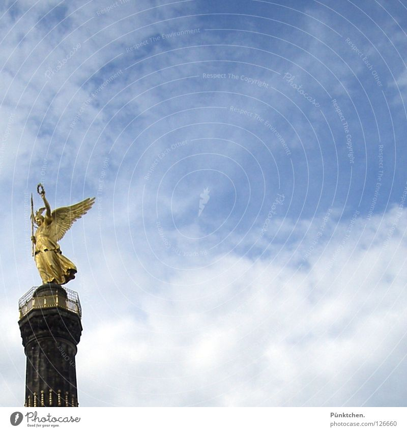 Sky White Blue Clouds Berlin Art Glittering Gold Angel Tower Wing Middle Monument Landmark Noble Column