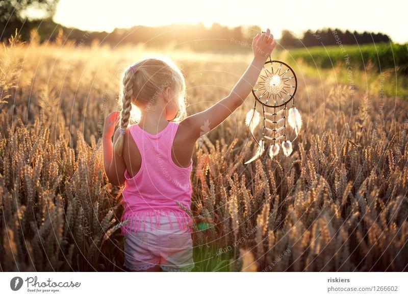 Human being Child Nature Summer Sun Relaxation Girl Environment Warmth Natural Feminine Orange Dream Field Illuminate Free