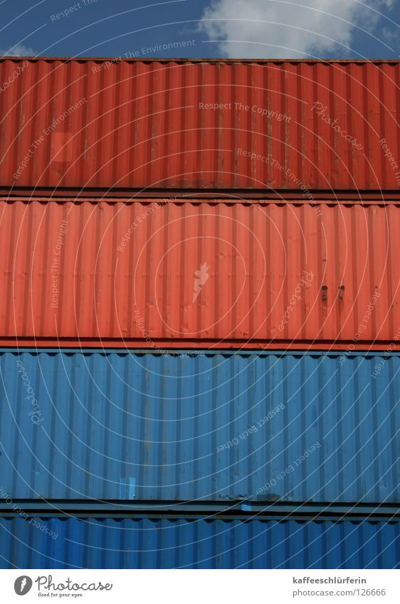 shipment Red Clouds Container terminal Goods Watercraft Harbour Blue Sky Multicoloured