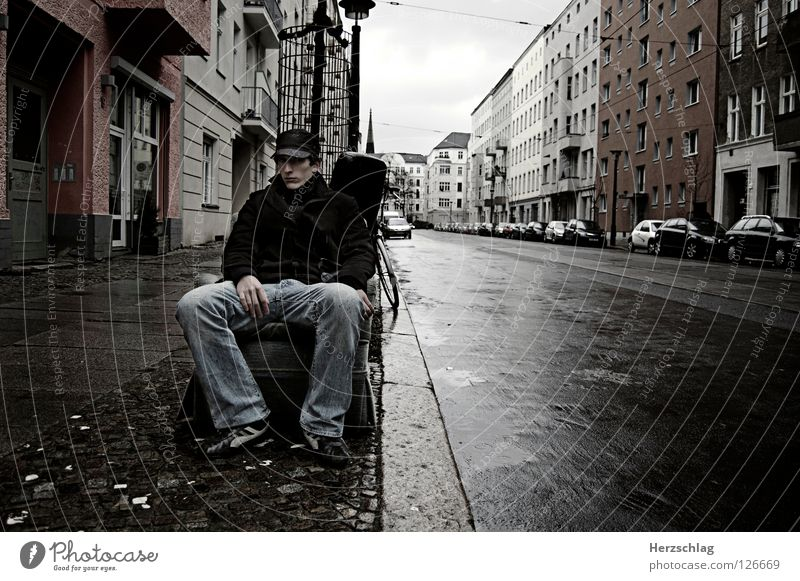 Sitting in Berlin Armchair Empty Harrowing Moody Gray Negative Hope Trash Grief Distress Sebastian Contrast Street youth press youth photos Loneliness Rain Fear