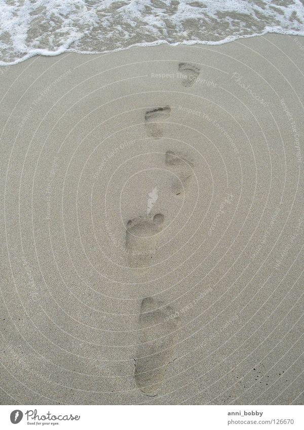Water Ocean Gray Feet Sand Wet Earth Footprint Printed Matter