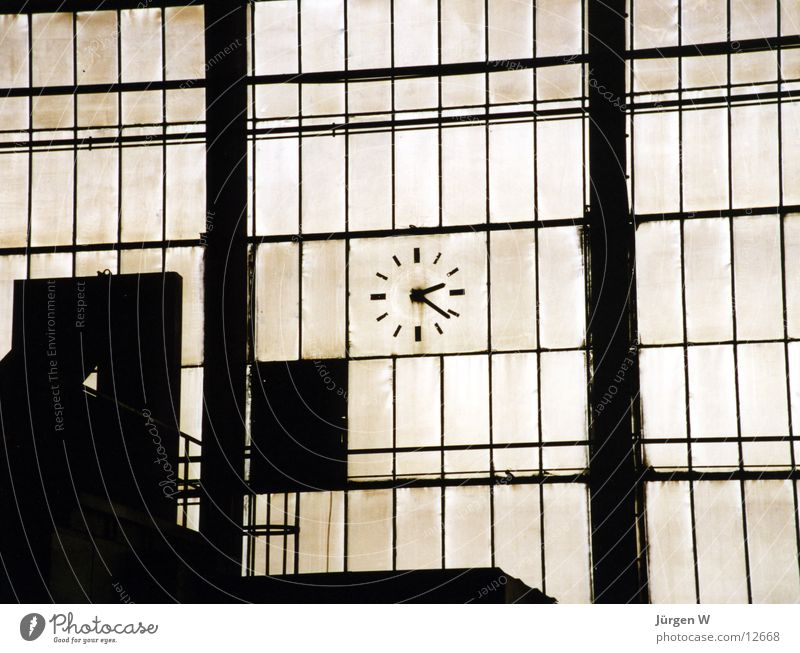 Old Window Dirty Glass Time Industry Factory Clock Historic Warehouse Production Grating