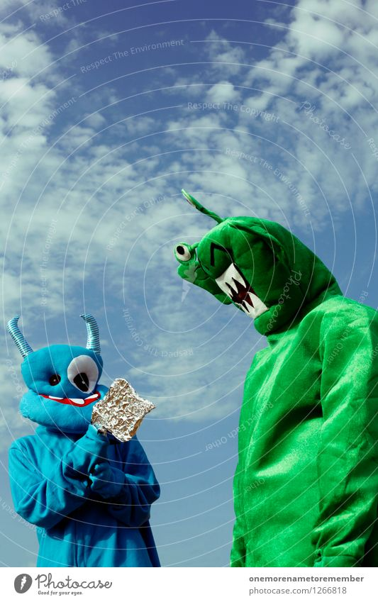 I got you Art Work of art Esthetic Extraterrestrial being Monster Ogre Monstrous Green Blue Adversary Fight Sealed Costume Carnival costume Clothing Crazy