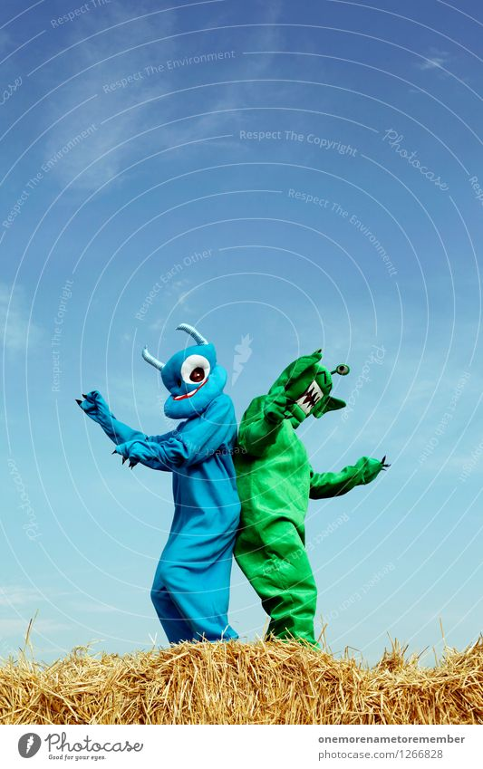 booty shake Art Work of art Adventure Esthetic Monster Extraterrestrial being Ogre Monstrous Green Blue Carnival costume Hiding place Dress up Joy Comical