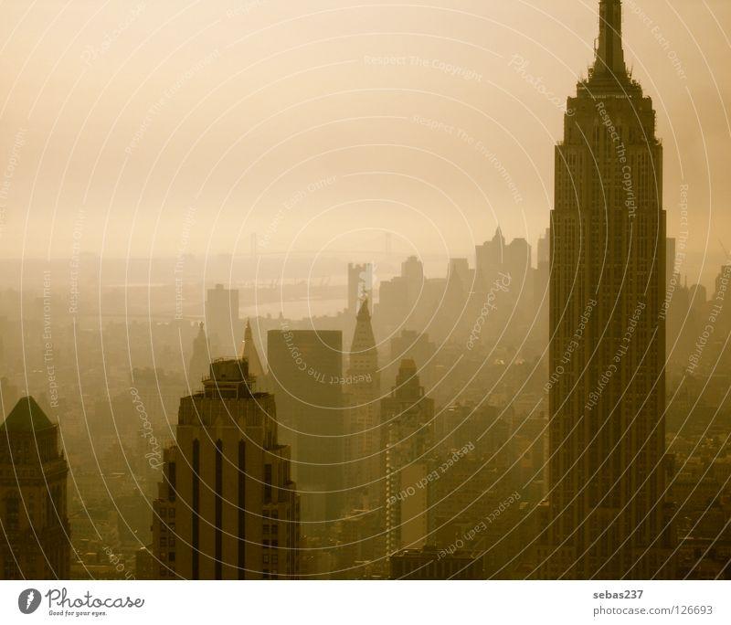 City Architecture Fog Concrete Skyline Monument Landmark New York City Manhattan Smog Empire State building