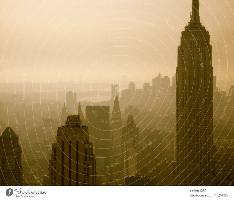 Smog of New York New York City Manhattan Empire State building Fog Town Concrete Architecture Landmark Monument big city twilight haze dome concrete jungle