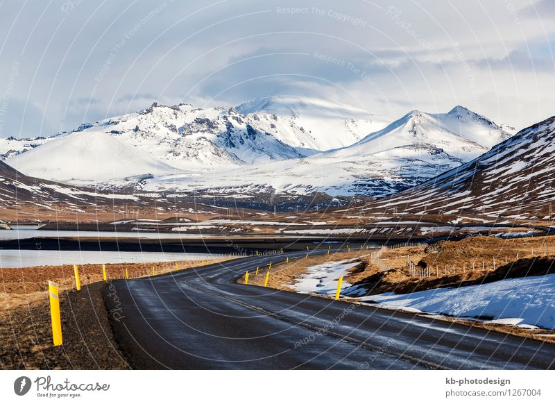 Impressive snowy volcano landscape in West Iceland Winter Environment Nature Landscape Clouds Climate Climate change Wind Adventure street ringroad drive danger