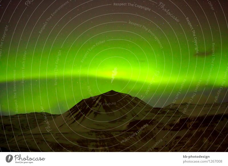 Green Northern lights in Iceland Environment Winter Climate Aurora Borealis Volcano Exceptional Fantastic northern lights Starling Natural phenomenon clouds
