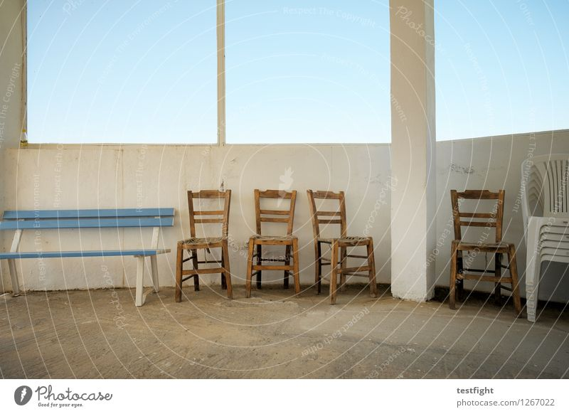row of chairs with bench Chair Bench Wooden chair Old Gloomy Blue Still Life Calm Going Colour photo Interior shot Morning