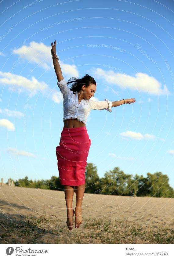 Human being Woman Nature Beautiful Landscape Joy Far-off places Adults Environment Life Feminine Sports Flying Sand Jump Wild