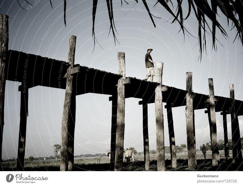 Man Sky Wood Bridge Asia Cap Sunglasses Tourist Pole Myanmar Plank Teak Mandalay Wooden bridge Bermuda