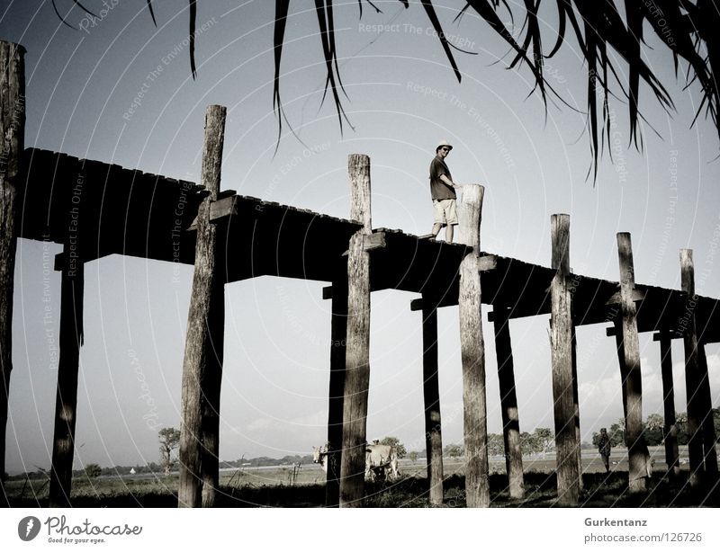 Man Sky Wood Bridge Asia Cap Sunglasses Tourist Pole Myanmar Plank Teak Mandalay Wooden bridge Bermuda
