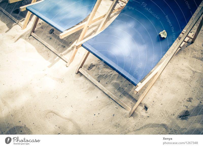 Beach loungers Vacation & Travel Summer Summer vacation Sunbathing Blue Sand Sandy beach Deckchair Seating Leisure and hobbies Exterior shot Deserted