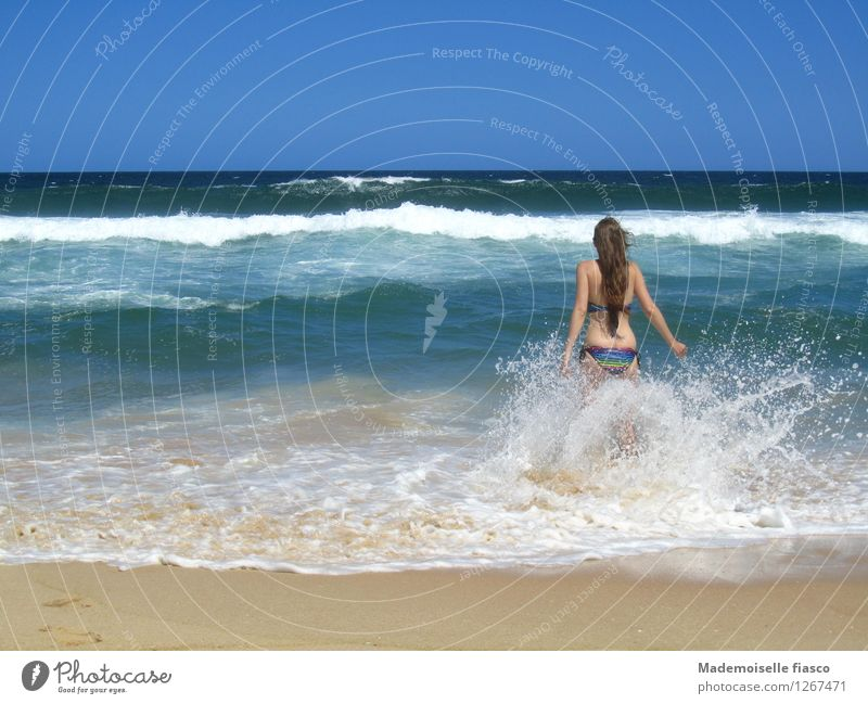Human being Vacation & Travel Youth (Young adults) Blue Summer Water Young woman Joy Beach Life Feminine Happy Freedom Swimming & Bathing Brown Sand