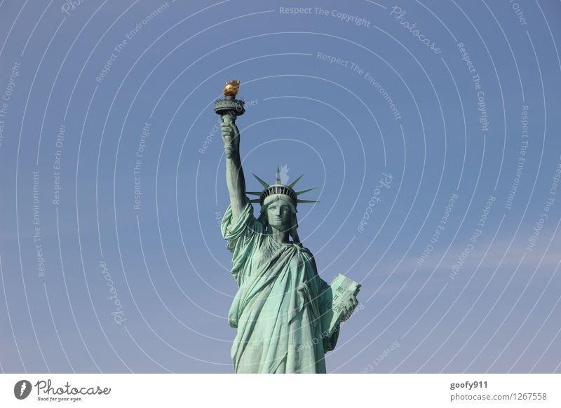 NEW YORK 10 Art Work of art Sculpture Culture New York City Statue Statue of Liberty Stone Blue Wanderlust Colour photo Exterior shot Day Long shot