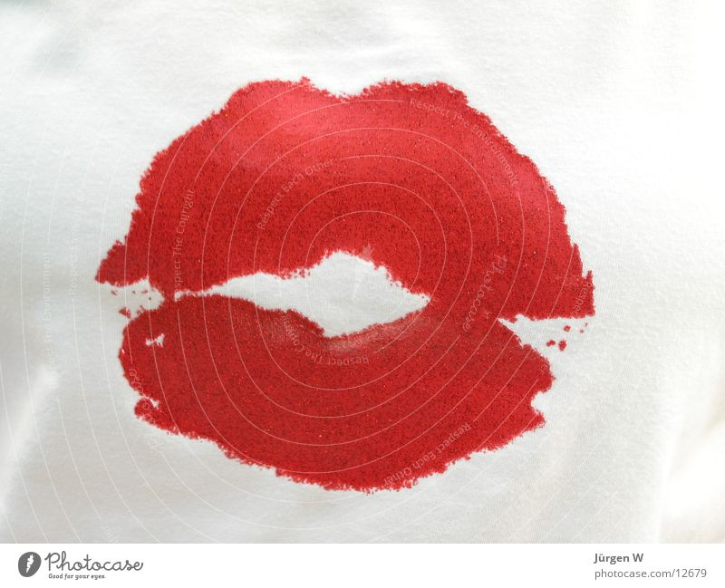 Red Leisure and hobbies Mouth T-shirt Lips Kissing Pressure Valentine's Day Printed Matter