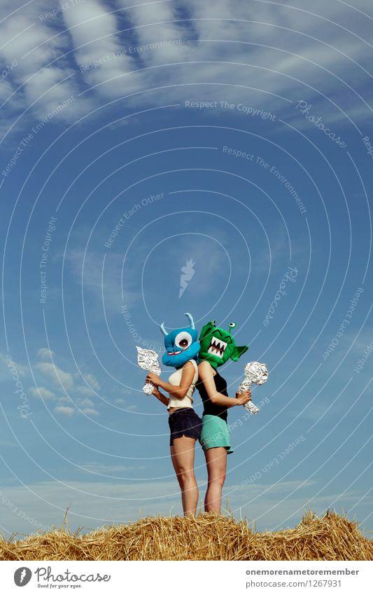 Blue Green Summer Joy Funny Feminine Art Esthetic Adventure Mask Carnival Argument Work of art Blue sky Carnival costume Monster