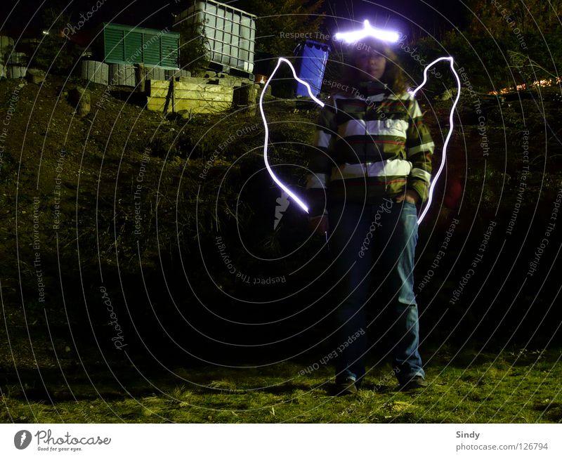 Woman Lamp Dark Meadow Style Bright Lighting Angel Jeans Stand Wing Good Stripe Jacket Exposure Flashlight