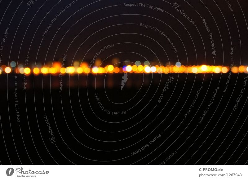 City Black Yellow Lighting Background picture Skyline Disco Night life Visual spectacle Point of light Fairy lights Night shot Rostock Sea of light