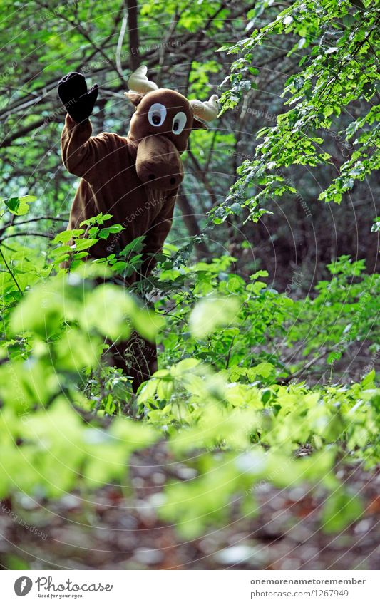 Hello there! Art Work of art Esthetic Elk Elk cow Bull Moose Forest Clearing Edge of the forest Forest plant Green Costume Carnival costume Absurdity Dress up