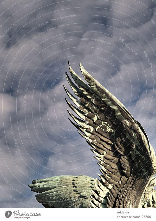 conventional wing Wing Statue Rüdesheim Germania Innocent Bird Feather Judder Flying animal Fat Watchfulness Rheingau Trumpet War Brass band music Loud Tin