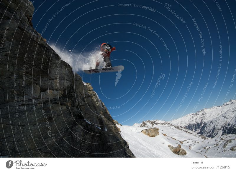 Will goes over the Rock Peak Glacier Background picture Jump Ledge Endurance White Switzerland Silvaplana Ski tour Snowboard Sporting event Winter Winter sports