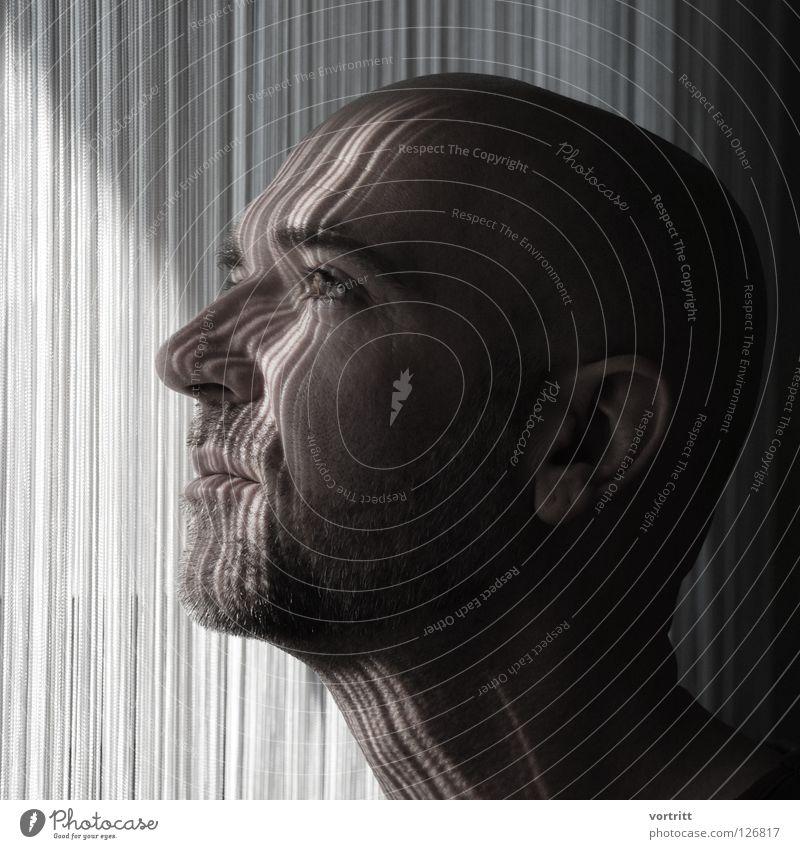 Human being Man Nature Sun Face Eyes Dark Hair and hairstyles Bright Art Lighting Nose Ear Facial hair Drape Side