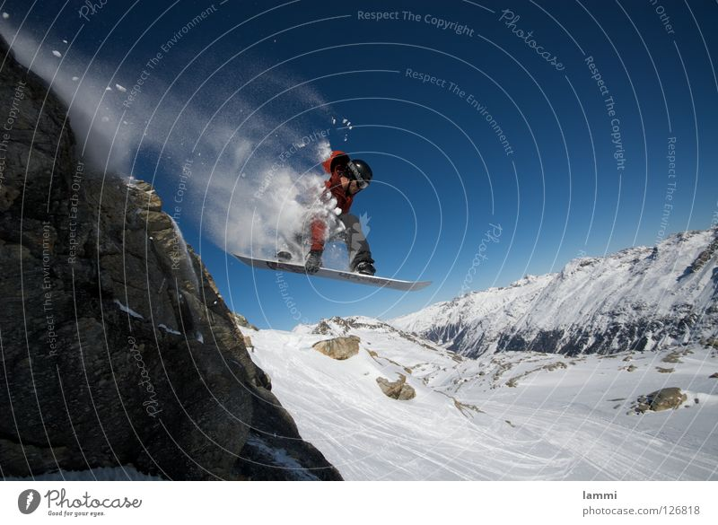 Will goes over the Rock Peak Glacier Background picture Jump Ledge Endurance White Switzerland Silvaplana Ski tour Snowboard Deep snow Sporting event Winter