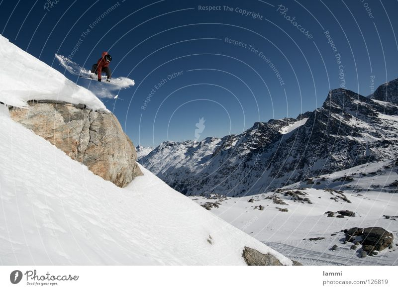 Will goes over the Rock Peak Glacier Background picture Jump Ledge Endurance White Switzerland Silvaplana Ski tour Snowboard Tracks Deep snow Hiking
