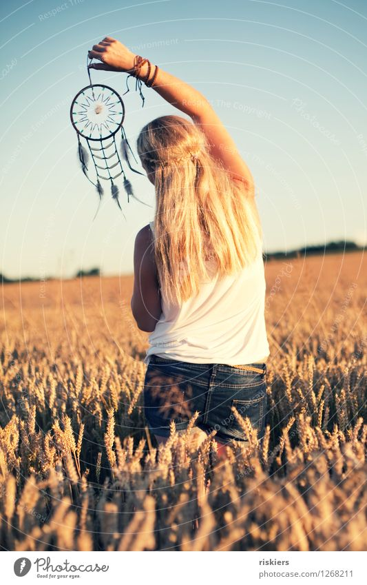 Human being Woman Nature Youth (Young adults) Summer Young woman Sun Relaxation Landscape 18 - 30 years Adults Environment Natural Feminine Dream Field