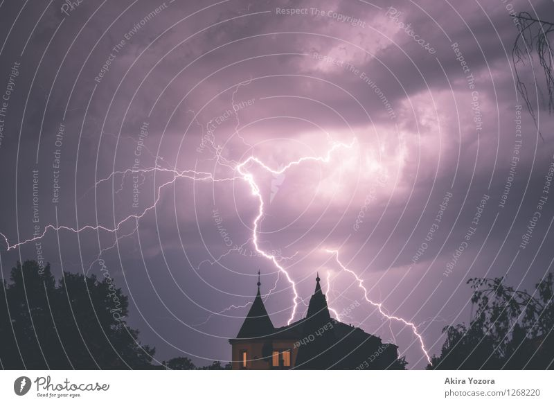Huge cargo Clouds Storm clouds Night sky Thunder and lightning Lightning Tree Town House (Residential Structure) Window Roof Touch Illuminate Aggression