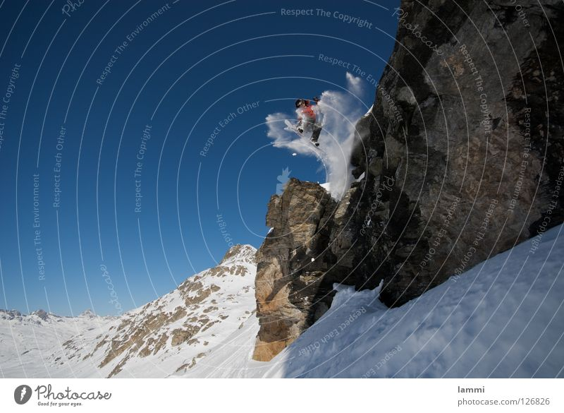 Will goes over the Rock Peak Background picture Jump Ledge White Switzerland Silvaplana Ski tour Tracks Deep snow Sporting event Winter Winter sports Alps