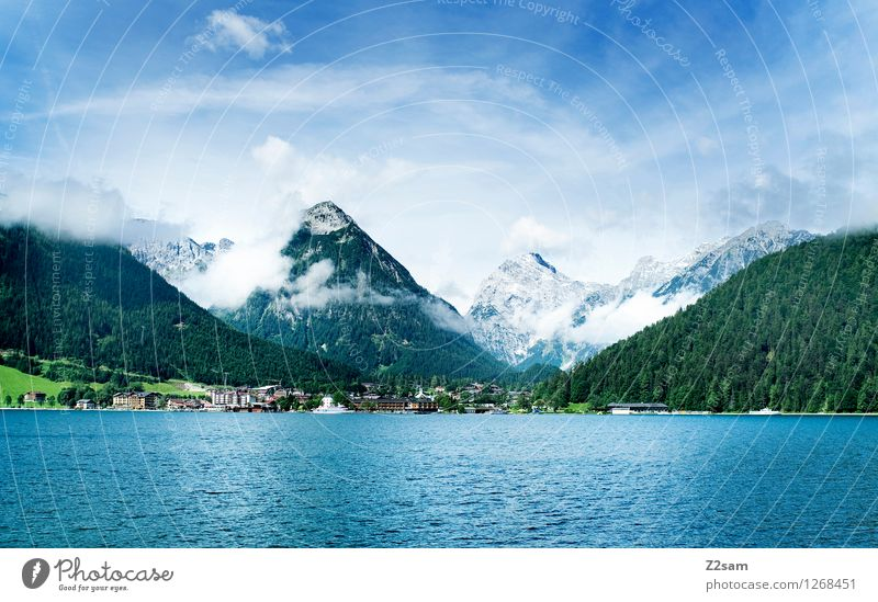 Sky Nature Vacation & Travel Blue Green Summer Relaxation Landscape Clouds Forest Mountain Natural Lake Leisure and hobbies Fresh Idyll