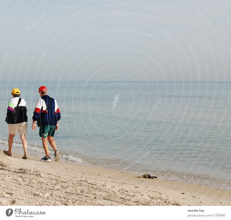 Human being Woman Sky Man Water Vacation & Travel Ocean Summer Beach Playing Senior citizen Couple 2 Horizon Together Walking