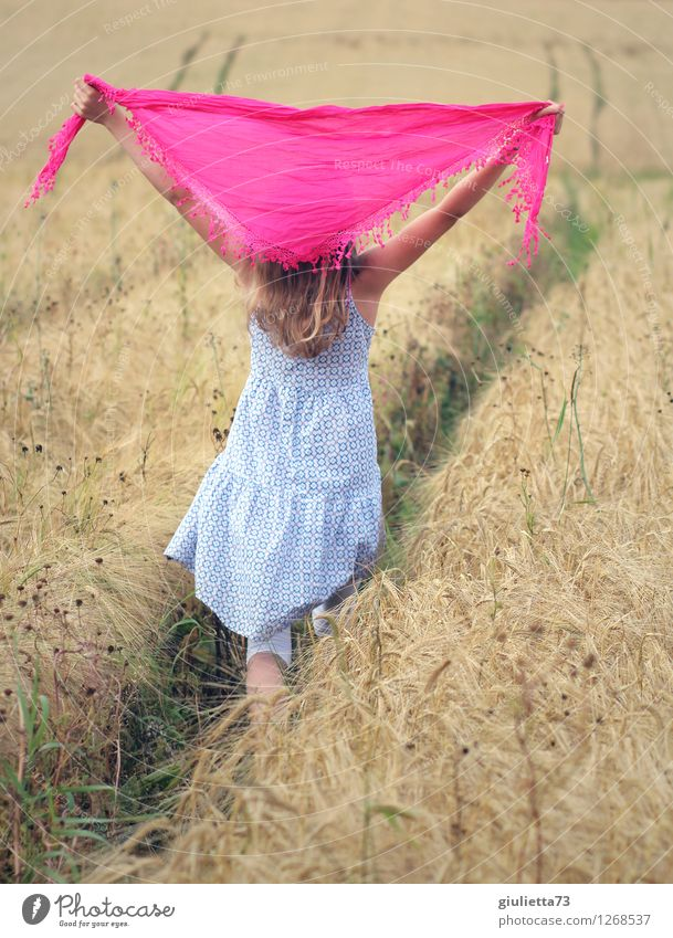 Human being Child Nature Summer Girl Life Feminine Playing Happy Going Pink Leisure and hobbies Field Infancy Blonde Free