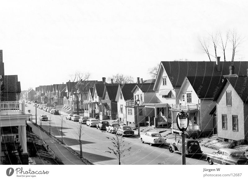 Suburbia '56 Small Town The fifties Nostalgia Americas North America USA Black & white photo smalltown