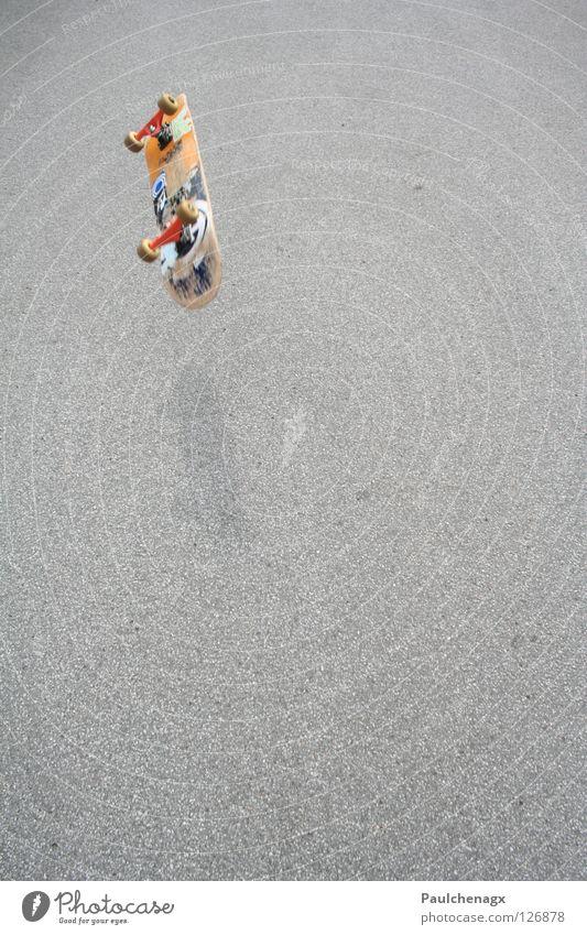 Skateboard Flyby Skateboarding Asphalt Leisure and hobbies street fly Orange