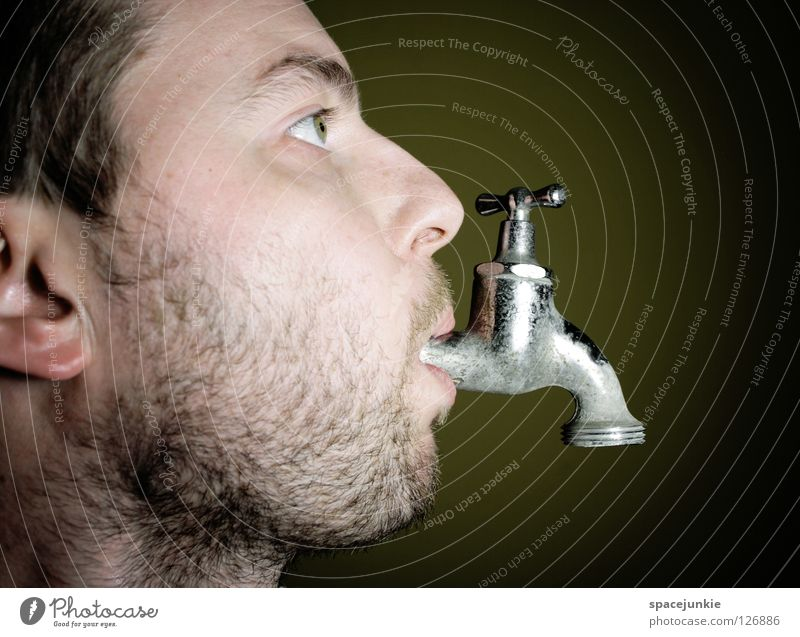 thirst Man Portrait photograph Tap Bathroom Beverage Refreshment Joy Face Water Fluid Drops of water Thirst