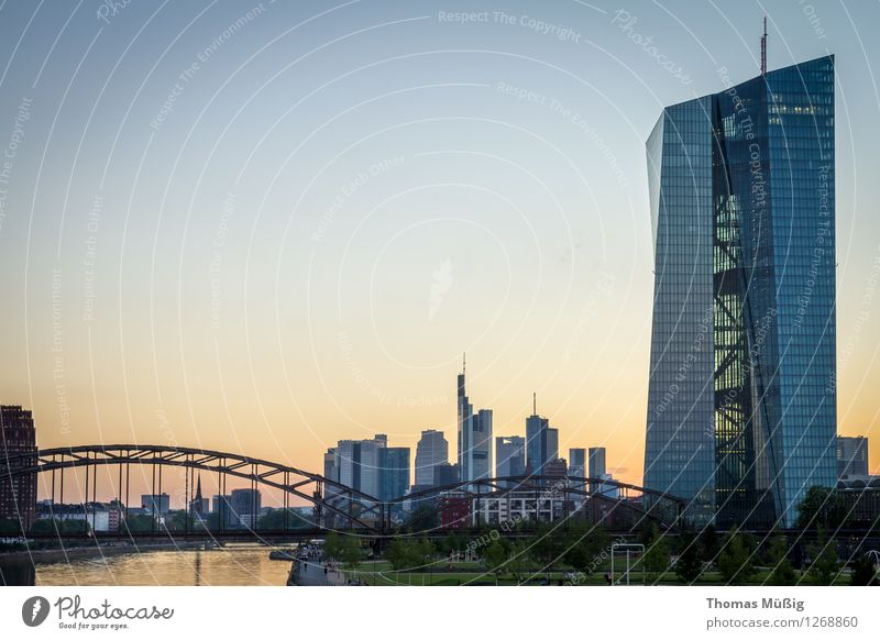 European Central Bank Town Downtown Skyline High-rise Bank building Bridge Architecture Tourist Attraction Financial Industry Perspective banks Railway bridge