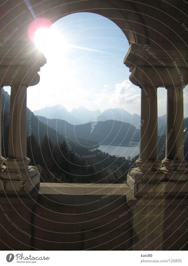 Nature Sun Blue Forest Window Mountain Lake Landscape Art Germany Romance Kitsch Culture Alps Castle Monument