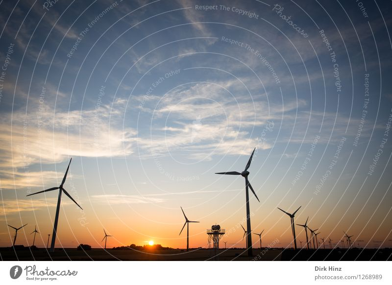 Sky Nature Blue Sun Landscape Clouds Environment Coast Horizon Orange Energy industry Wind Technology Future Industry Clean