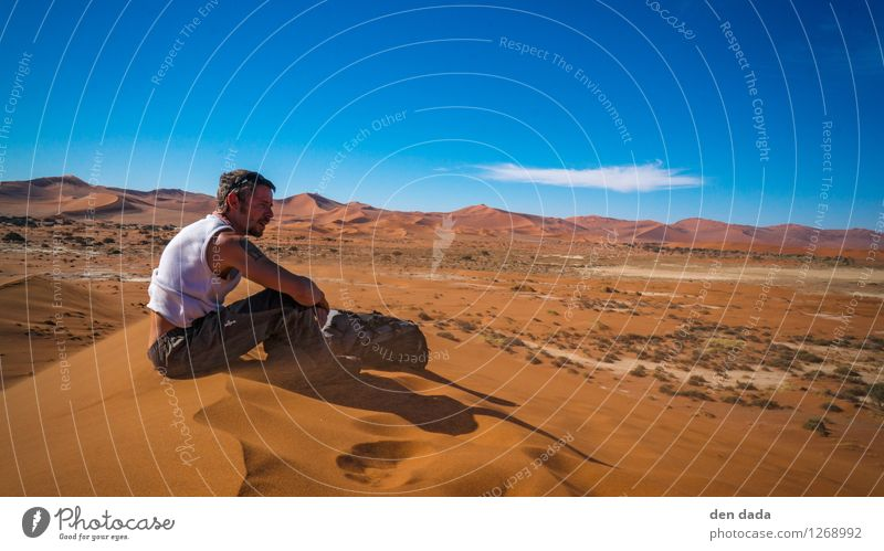 desert hiking Human being Masculine Young man Youth (Young adults) 1 30 - 45 years Adults Landscape Earth Sand Horizon Warmth Drought Hill Desert Namib desert