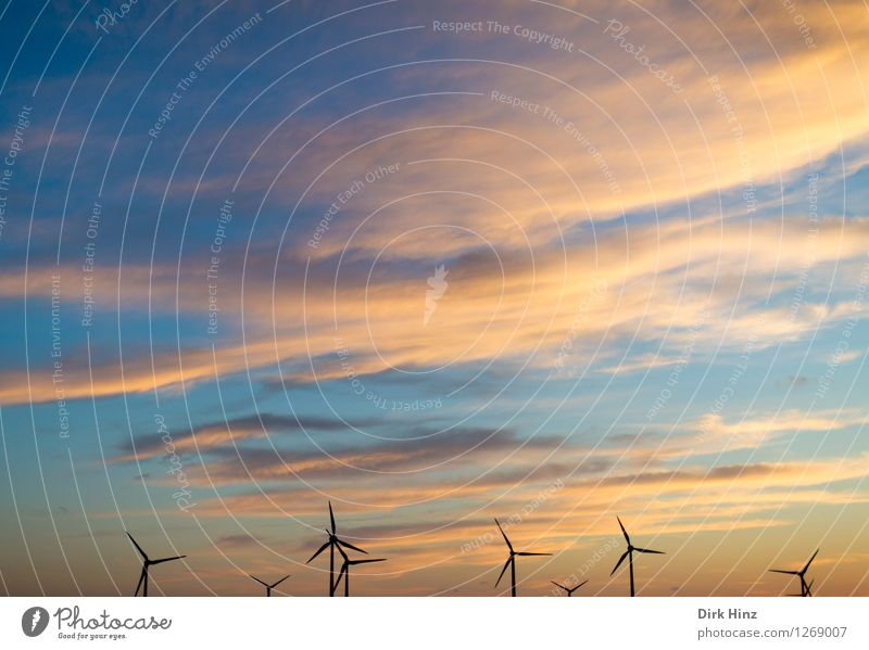 Sky Nature Landscape Clouds Environment Coast Horizon Energy industry Aviation Wind Technology Future Electricity Industry Change Wind energy plant